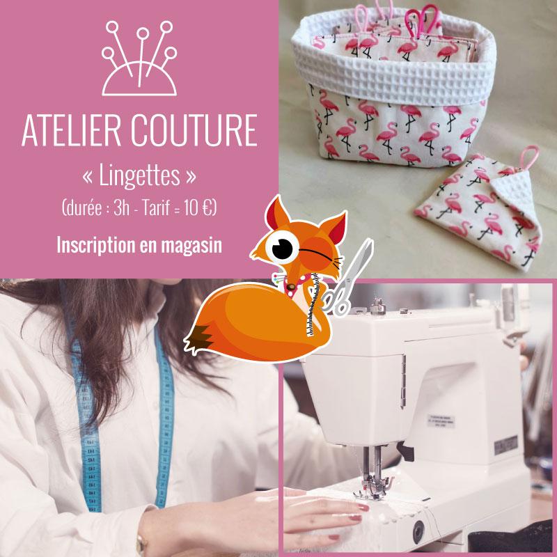 Atelier couture lingettes lavables by Tissus du Renard